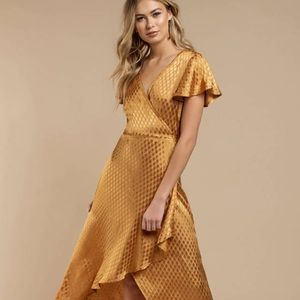 BAND OF GYPSIES Quinn Gold Wrap Dress MED NWT
